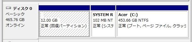 Dドライブ作成、コンピュータの管理画面