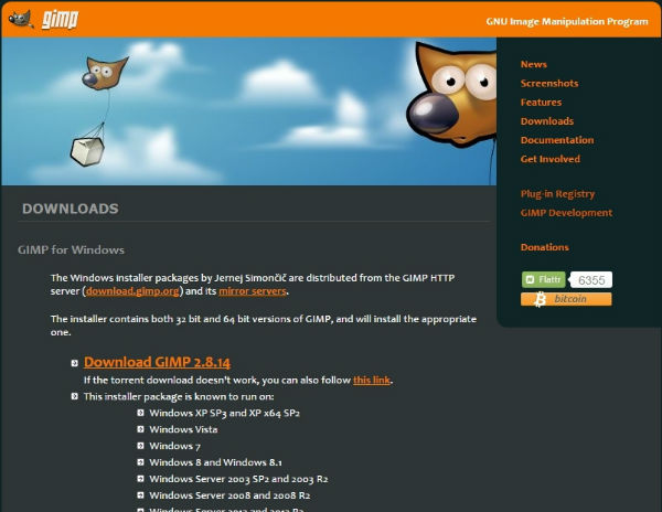GIMP2ダウンロードページ