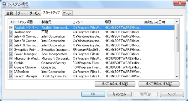 Extension Cookingアドウエア広告 msconfig