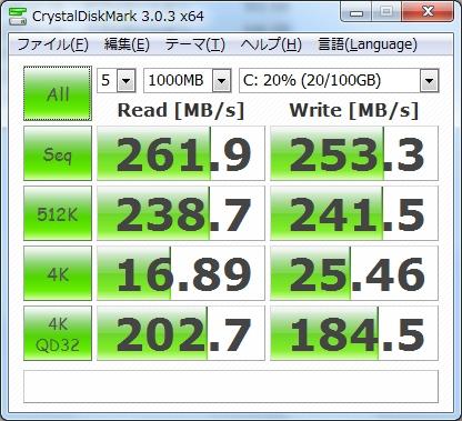 CrystalDiskMarkでSSDのベンチマークを測った