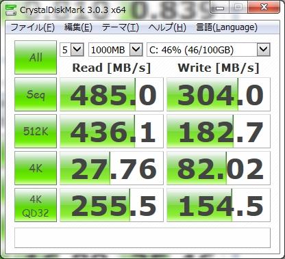 INSPIRON15 5558 SSD ベンチマーク