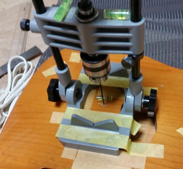テレキャスター 裏通し弦穴加工 ブリッジ交換 1弦穴と6弦穴を貫通させる