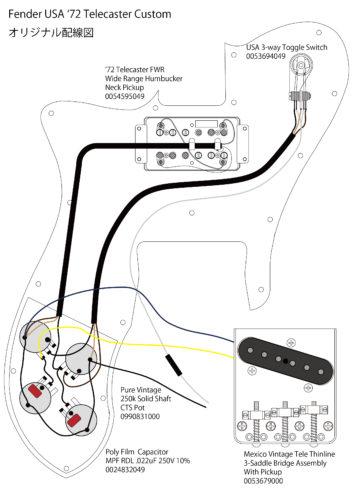 アベフトシテレキャスターカスタム自作 Fender USA '72 Telecaster Custom 配線図