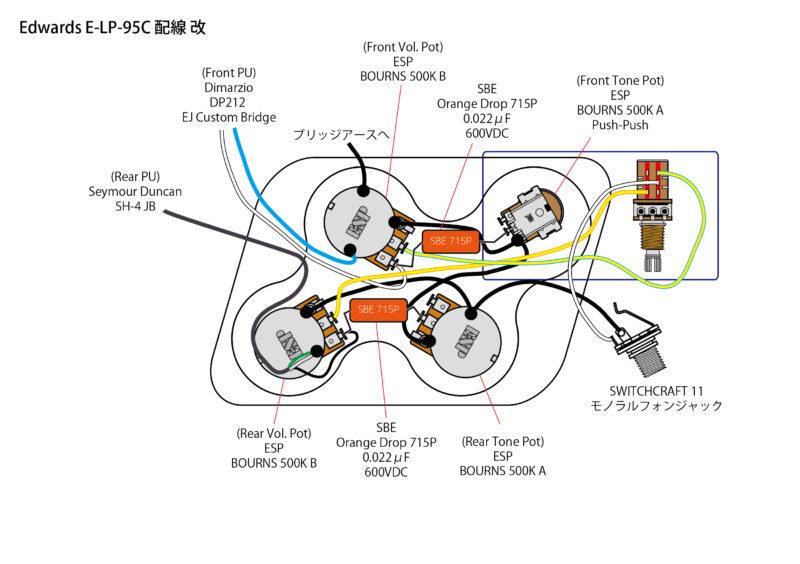 レスポール ポット交換 配線 Edwards E-LP-95C ESPオリジナルBOURNS製ポット・オレンジドロップ